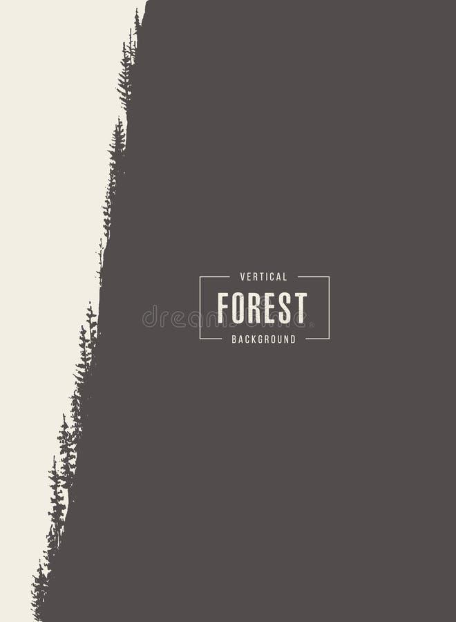 Croquis dessiné par vecteur vertical de forêt de pin illustration de vecteur