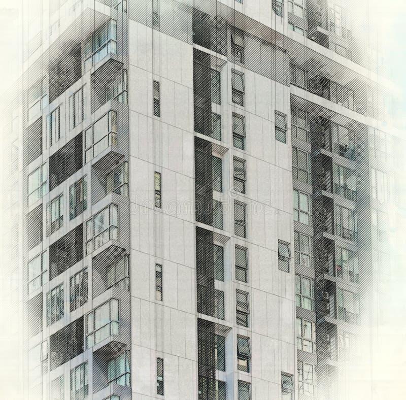 Croquis du bâtiment architectural dans la ville image libre de droits