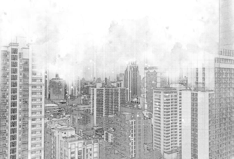 Croquis du bâtiment architectural dans la ville photographie stock libre de droits