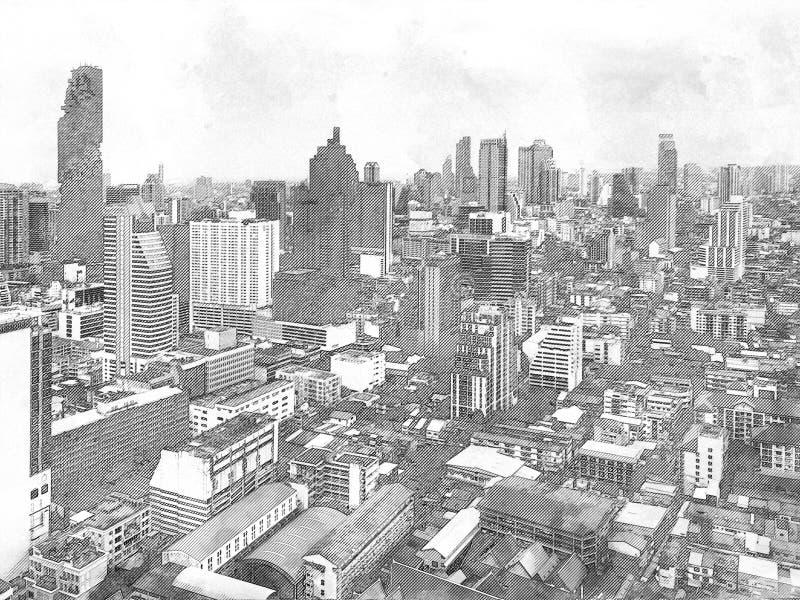 Croquis du bâtiment architectural dans la ville images libres de droits