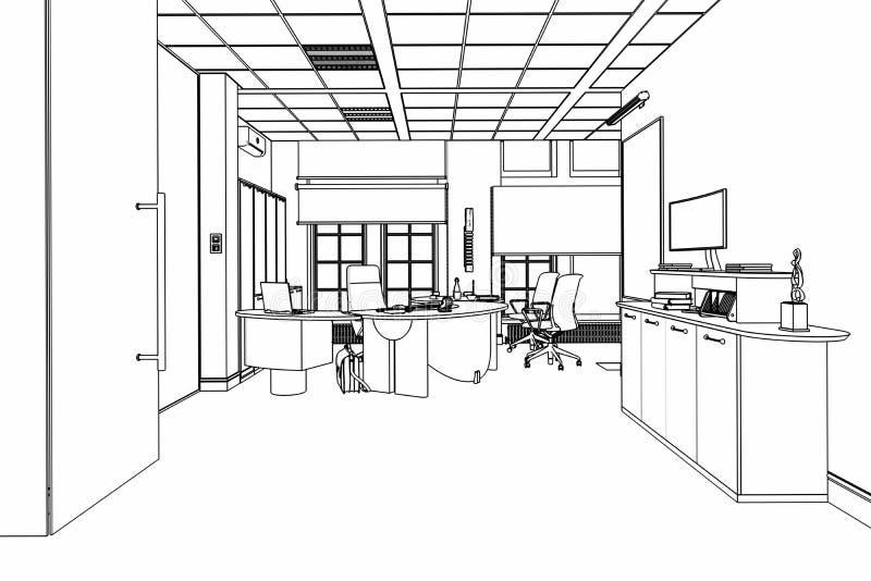 Croquis du bureau exécutif 01 illustration libre de droits
