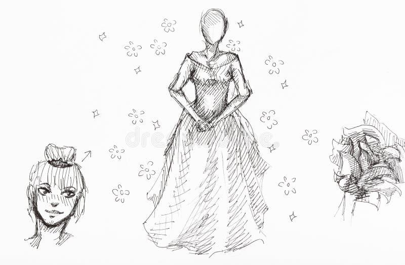 Croquis du chiffre de la dame, de la t?te de la fille et des fleurs illustration de vecteur