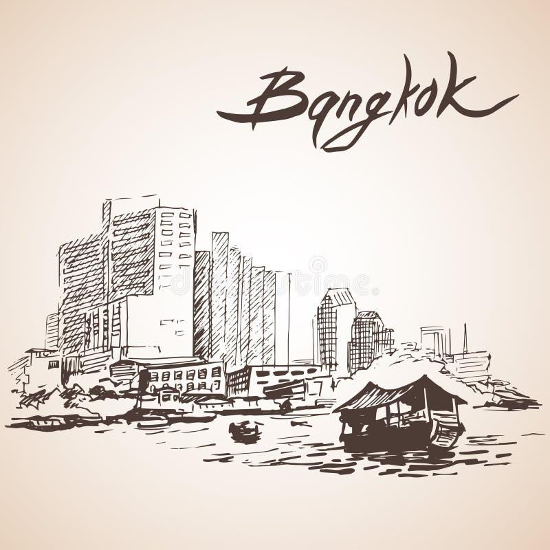 Croquis du paysage urbain de Bangkok thailand illustration libre de droits
