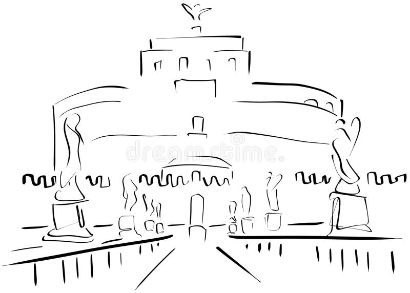Croquis du Sant'Angelo Castle illustration libre de droits