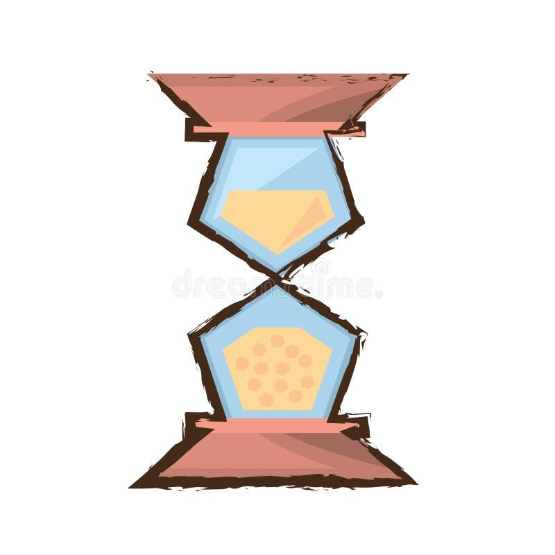 croquis en bois en verre de couleur de temps d'horloge de sable illustration libre de droits