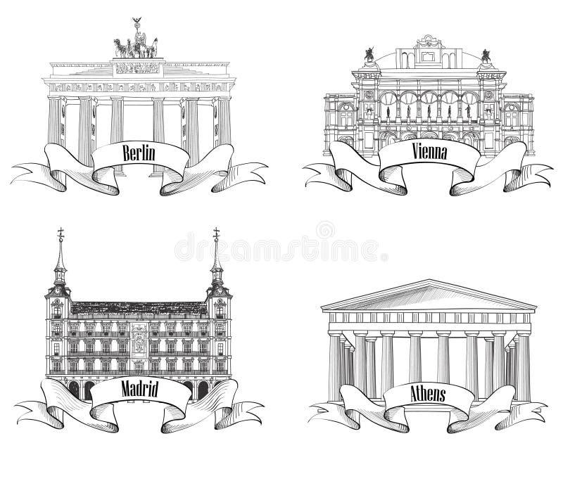 Croquis européen de symboles de villes réglé : Athènes, Berlin, Madrid, Vienne. illustration libre de droits