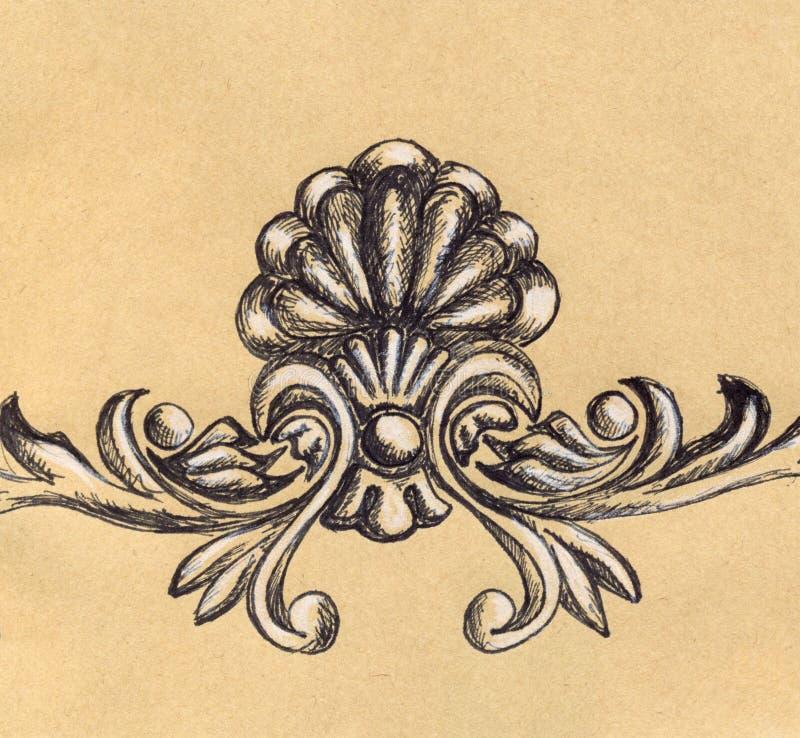 Croquis floral de métier de décoration de rétro stuc de vintage illustration de vecteur