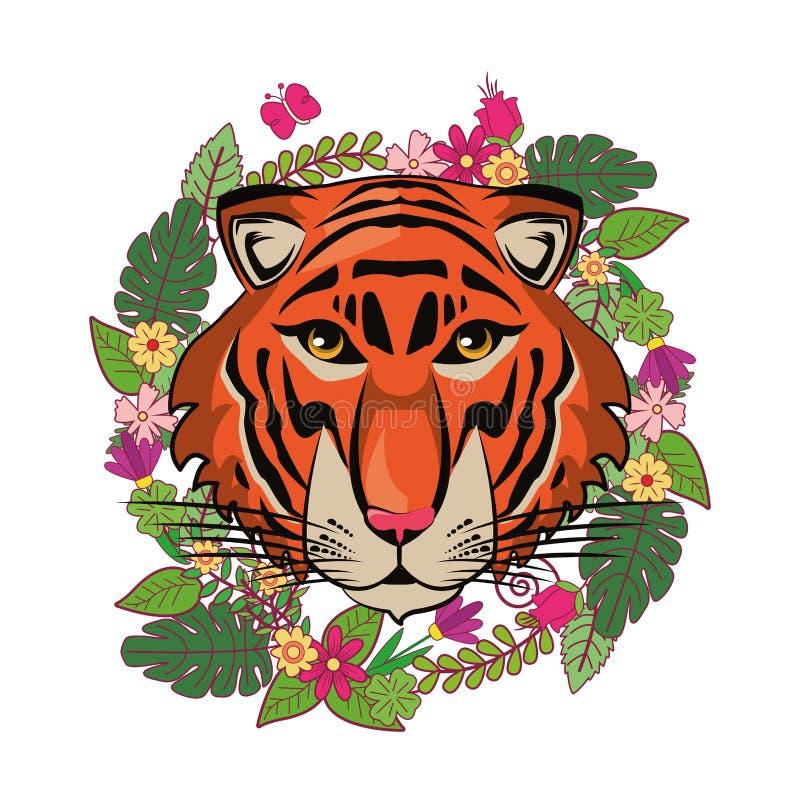 Croquis frais de visage de tigre illustration libre de droits