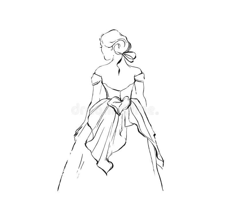 Croquis graphique d'illustration de dessin d'encre d'abrégé sur tiré par la main vecteur de belle fille de mariage de jeune marié illustration stock