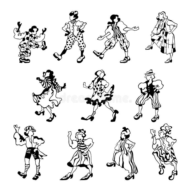 Croquis graphique des figures dénommées des personnes heureuses dans des costumes folkloriques sur un fond blanc illustration stock