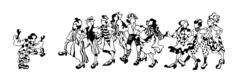 Croquis graphique des personnes heureuses de danse dans les costumes folkloriques sur un fond blanc illustration libre de droits