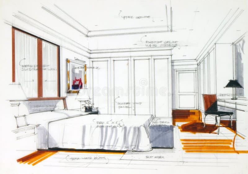 Croquis graphique une chambre à coucher illustration stock