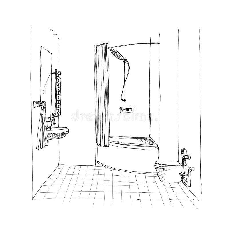 Croquis graphique une salle de bains illustration stock