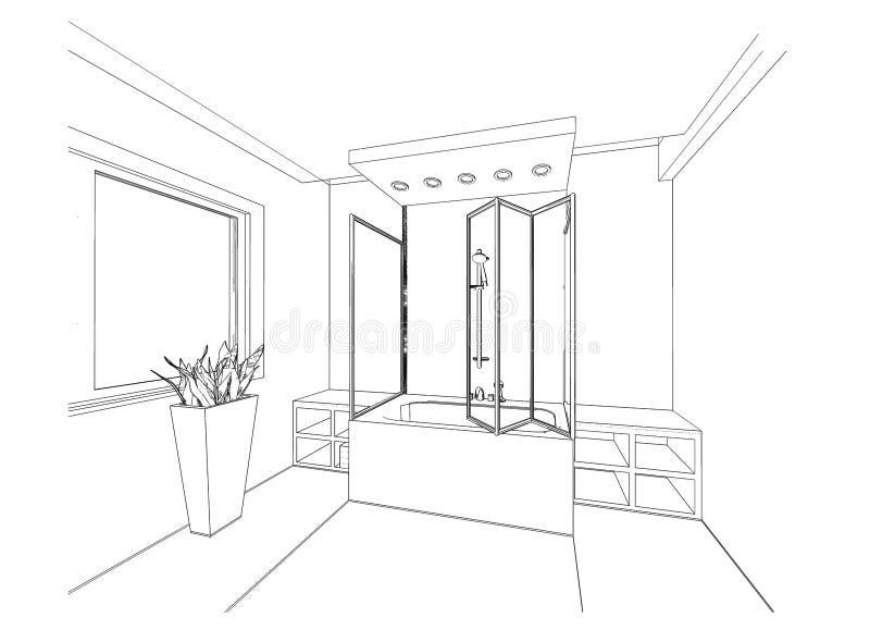 croquis graphique une salle de bains illustration stock illustration du id e illustration. Black Bedroom Furniture Sets. Home Design Ideas