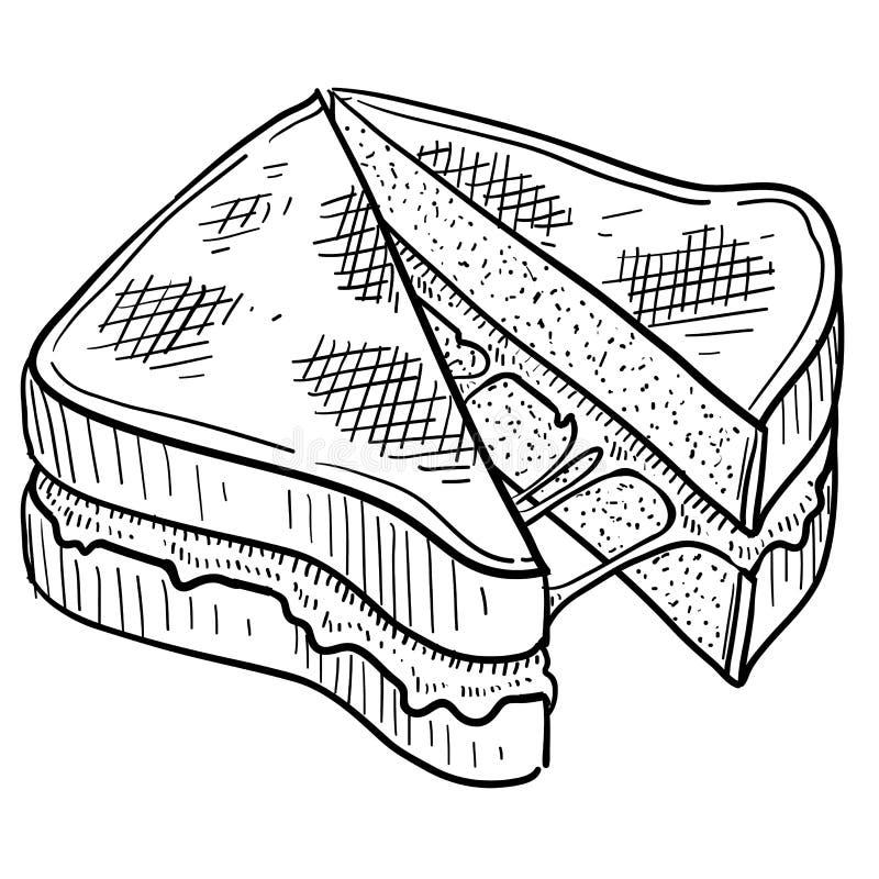 Croquis grillé de sandwich à fromage illustration de vecteur