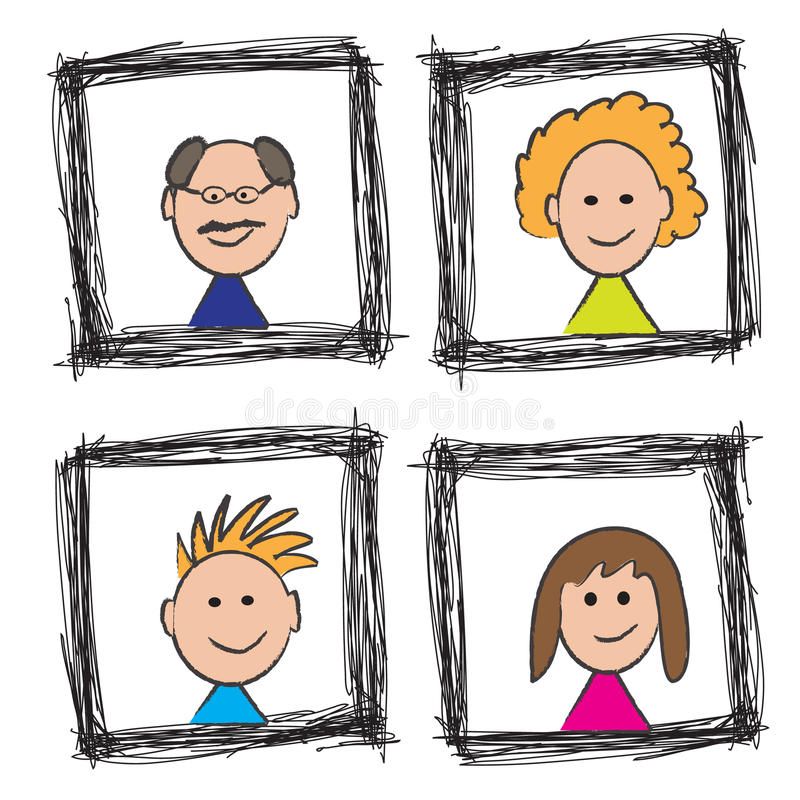 Croquis heureux de verticale de famille illustration de vecteur