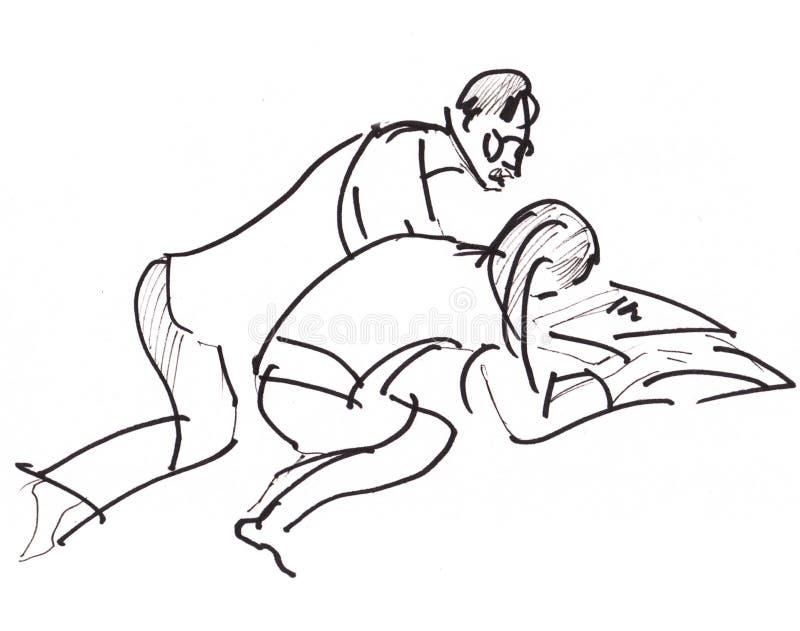 Croquis instantané, fille et homme illustration libre de droits