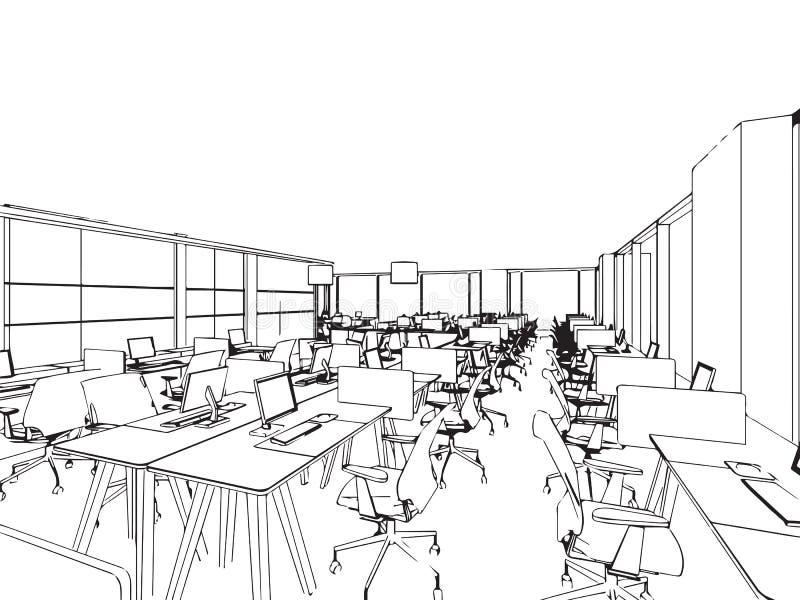 Croquis intérieur de dessin d'ensemble de bureau illustration stock