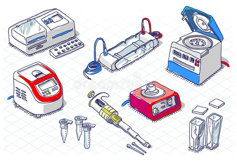 Croquis isométrique - biologie moléculaire - ensemble de laboratoire illustration libre de droits