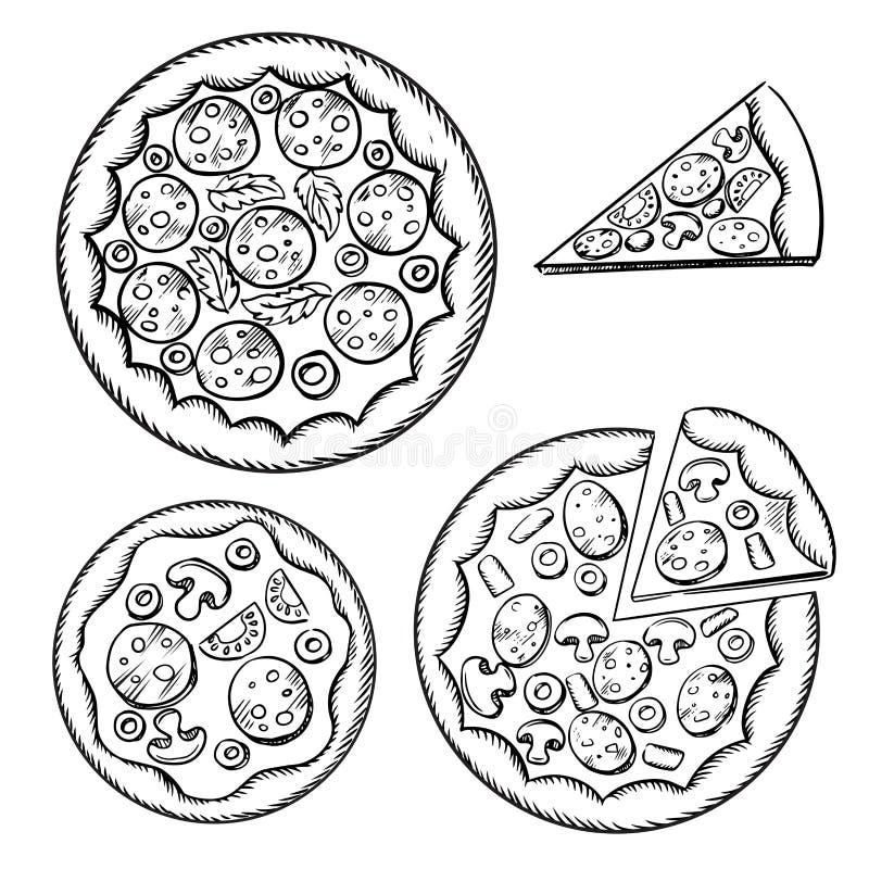 Croquis italiens de pizza avec l'écrimage différent illustration stock