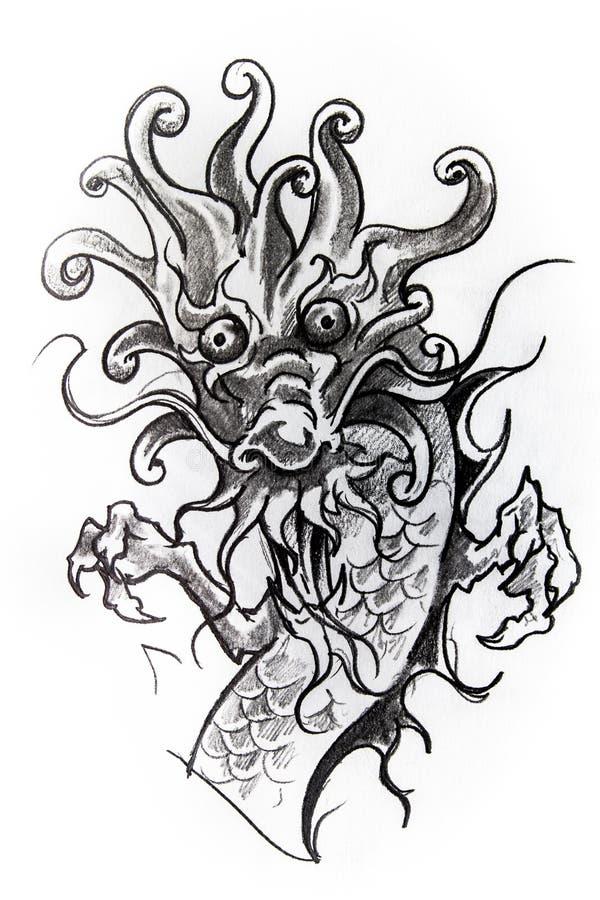Croquis japonais de dragon de tatouage illustration libre de droits