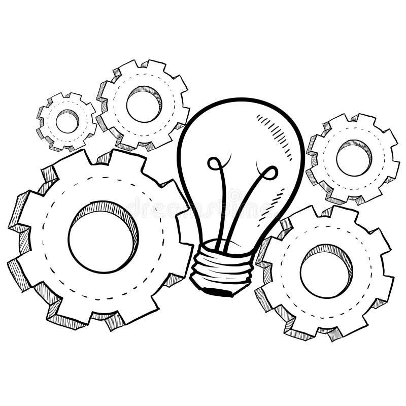 Croquis mécanique d'invention illustration stock