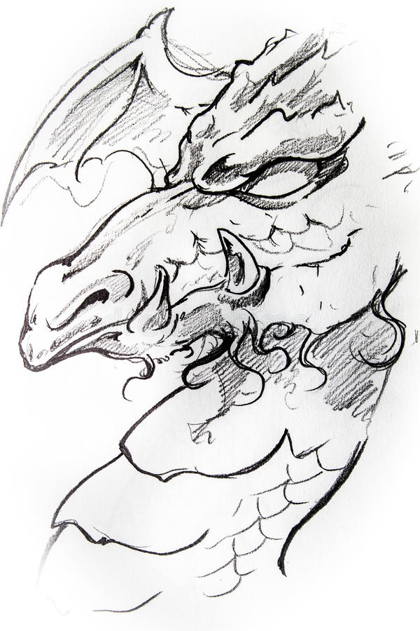 Croquis médiéval de dragon de tatouage illustration de vecteur