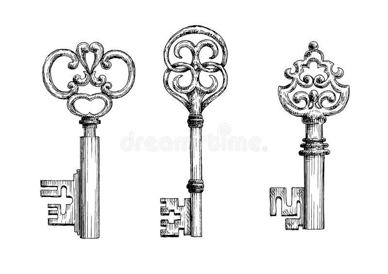Croquis médiévaux de clés de vintage réglés illustration stock