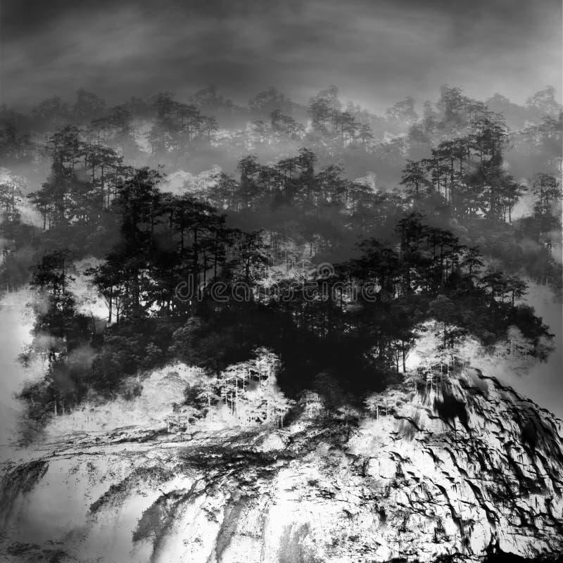 croquis minimaliste blanc noir de forêt et de cascade photo libre de droits