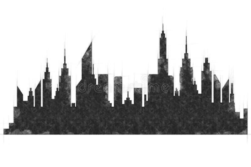 Croquis moderne de bâtiments et de gratte-ciel de ville illustration de vecteur