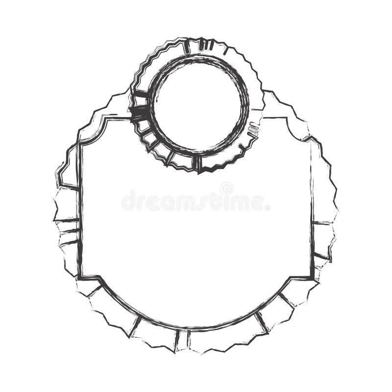 croquis monochrome de cadre héraldique avec l'emblème circulaire illustration de vecteur
