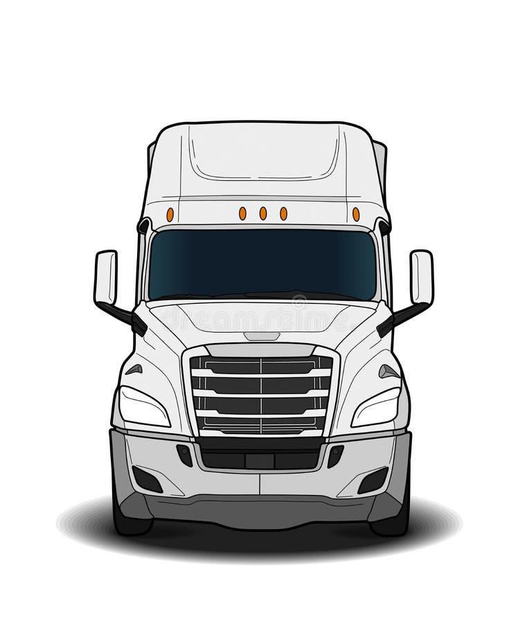 Croquis noir et blanc américain de camion de remorque illustration libre de droits