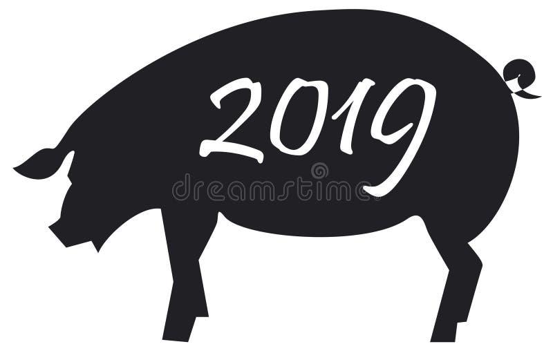 Croquis noir et blanc de porc avec le nombre 2019 illustration de vecteur