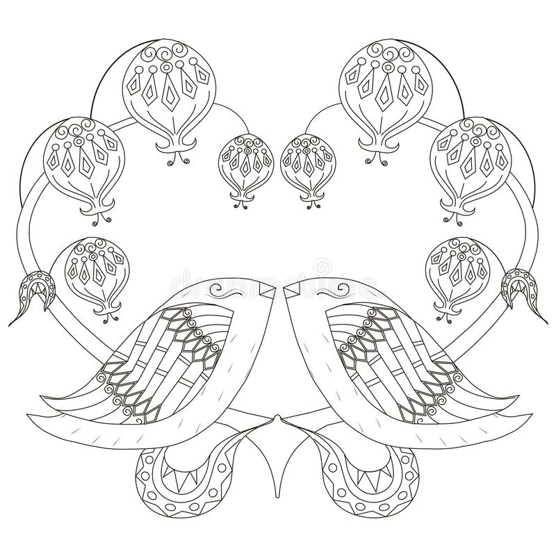Croquis noir et blanc des oiseaux affectueux, anti illustration de page de coloration d'effort de coeur stylisé, copie de tissu,  illustration stock