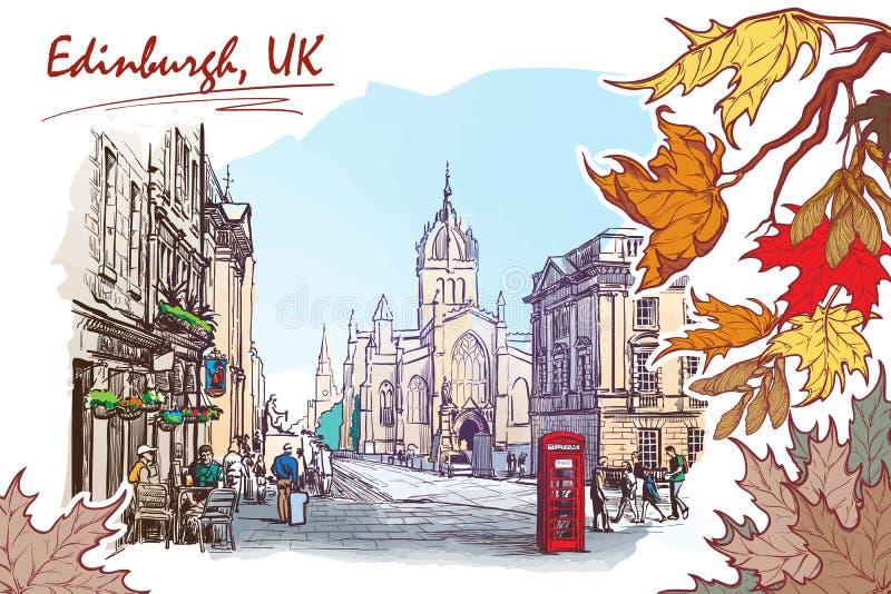 Croquis peint par rue royale de mille illustration de vecteur