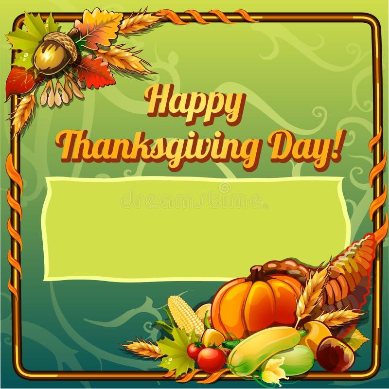 Croquis pour l'invitation de carte ou de réunion intime dans le style des vacances du jour de thanksgiving avec l'espace pour vot illustration de vecteur