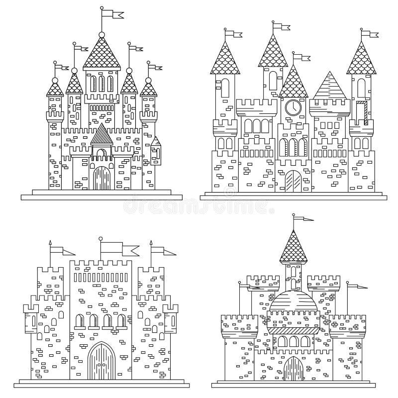 Croquis pour les châteaux et la forteresse médiévaux illustration libre de droits