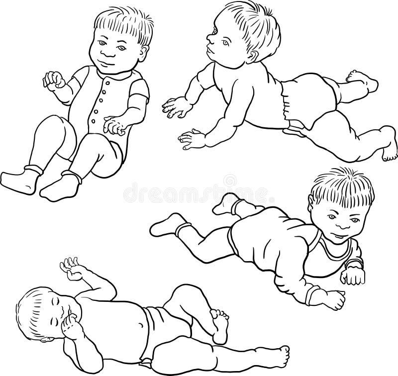 Croquis quatre de bébé illustration de vecteur