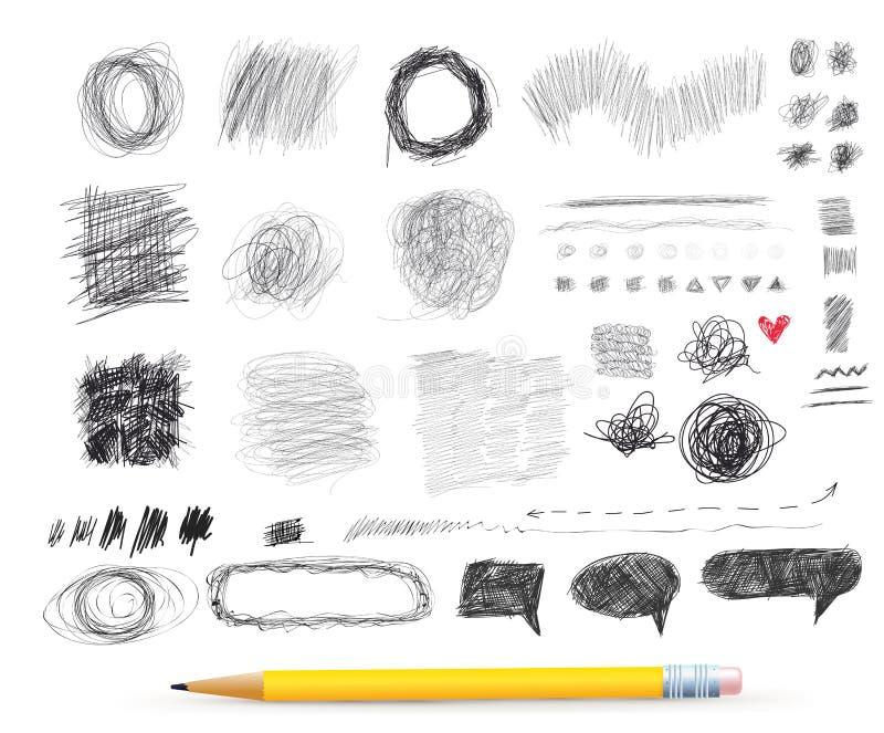 Croquis rond chaotique abstrait Dessin au crayon pour votre conception Retrait de dessin à main levée Illustration de vecteur Sur illustration de vecteur