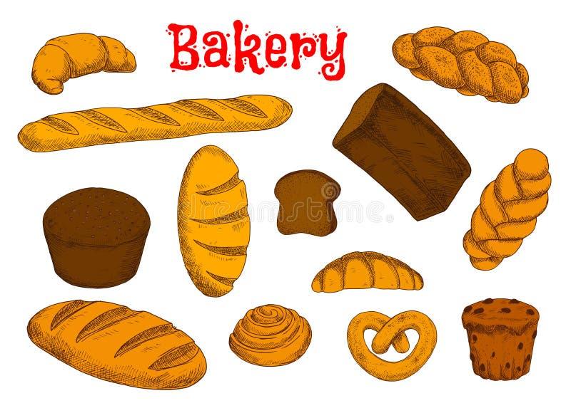 Croquis sains de boulangerie et de pâtisserie illustration stock