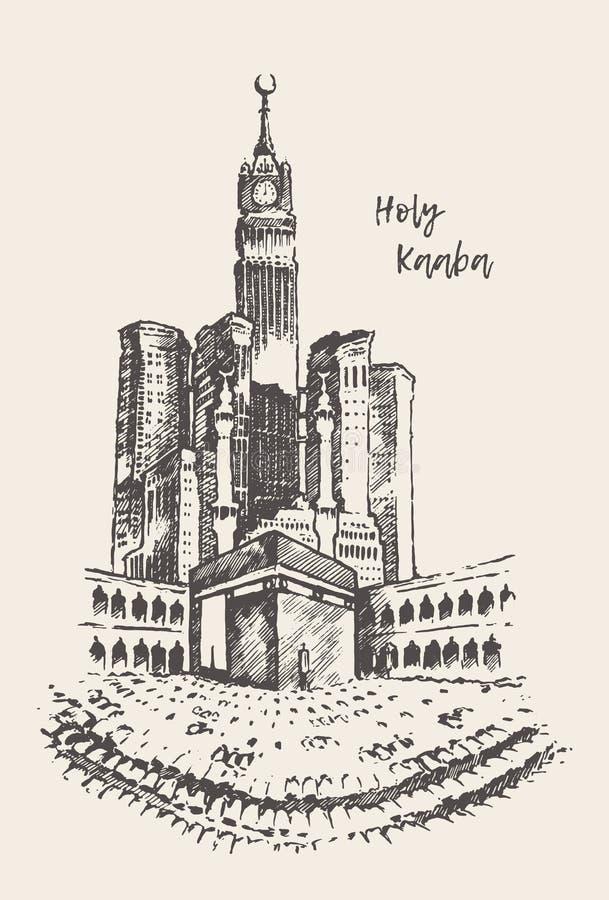 Croquis saint de vintage dessiné par Mecca Saudi Arabia de Kaaba illustration de vecteur