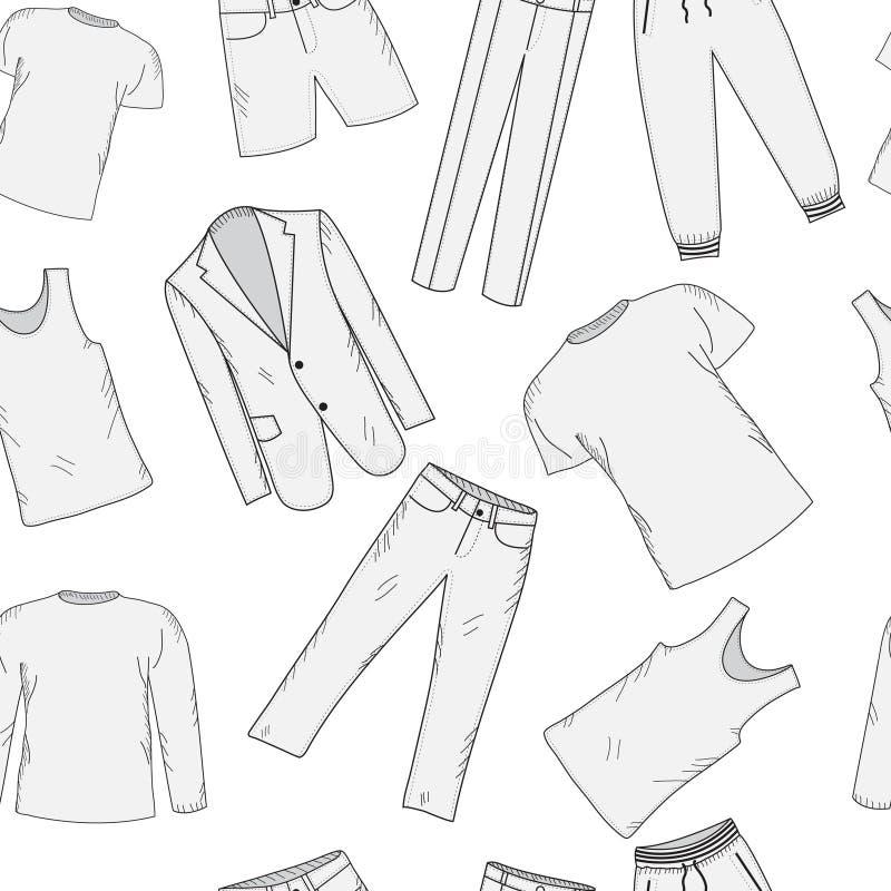 Croquis sans couture réglé de modèle d'habillement Les vêtements des hommes, style de main-dessin L'habillement des hommes, fond  illustration de vecteur
