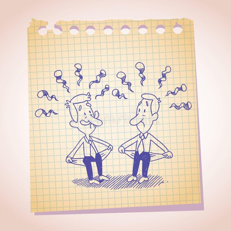 Croquis sans ressources de bande dessinée de papier de note de l'homme d'affaires deux illustration stock