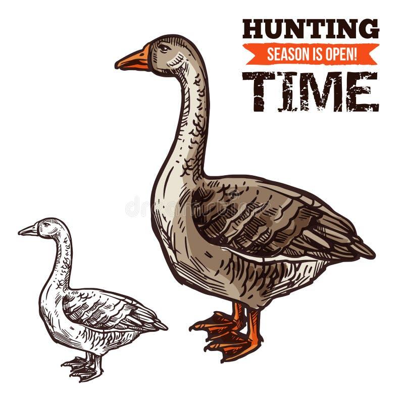 Croquis sauvage d'oiseau d'oie pour chasser la conception de sport illustration de vecteur