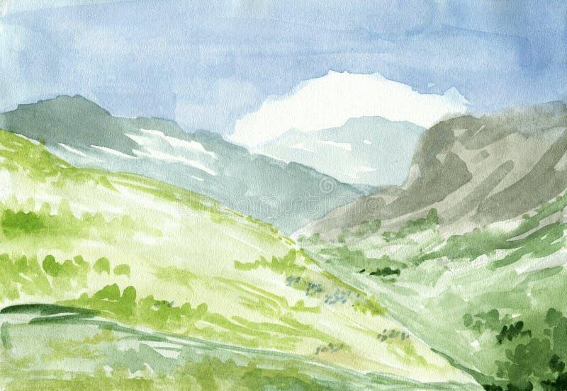 Croquis scénique peint à la main, collines de paysage de montagne hautes avec le pré, roches et forêt, illustration d'aquarelle illustration libre de droits