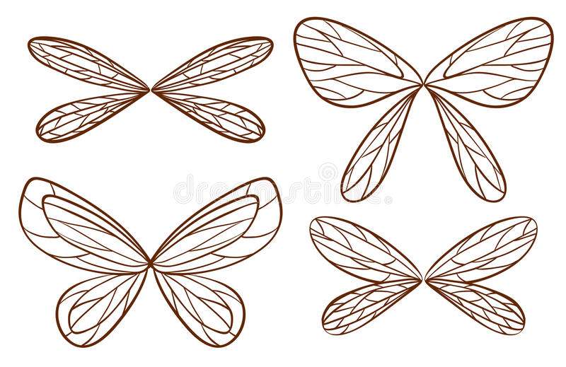 Croquis simples des ailes féeriques illustration stock