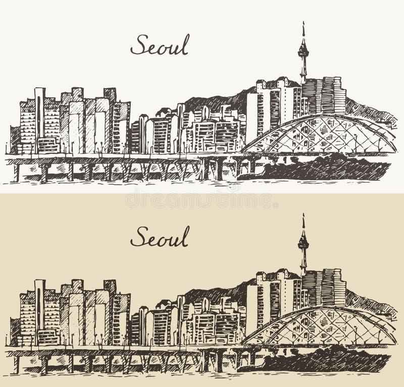 Croquis spécial de vintage de la Corée du Sud de ville de Séoul illustration libre de droits