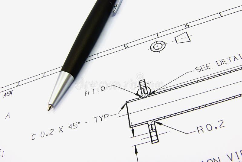 Croquis technique et crayon lecteur images stock