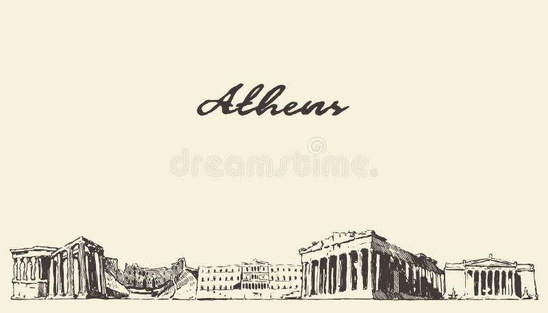 Croquis tiré de ville de vecteur de la Grèce d'horizon d'Athènes illustration libre de droits