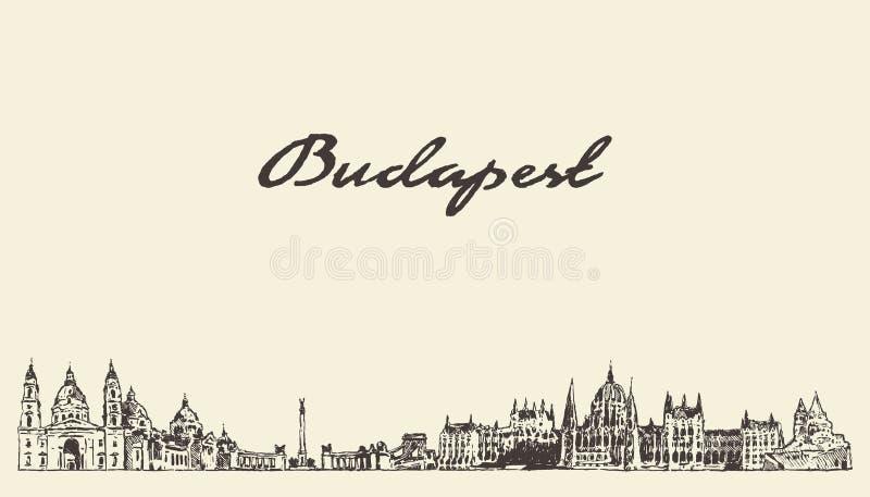 Croquis tiré de ville de vecteur de la Hongrie d'horizon de Budapest illustration de vecteur